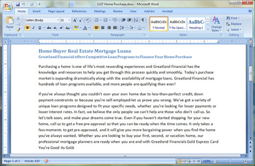 MS Word - Microsoft Office 2007 System