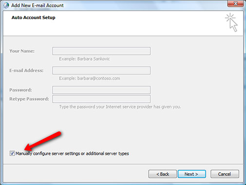 Setting up Microsoft Exchange Email Account in Outlook Step 7