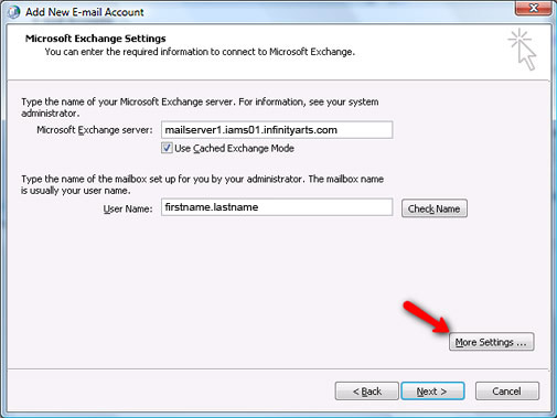 Setting up Microsoft Exchange Email Account in Outlook Step 9